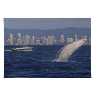 Humpback Whale Calf Breaching Surfers Paradise Cloth Placemat