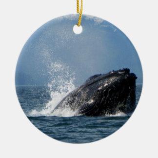 Humpback Whale Feeding Ceramic Ornament