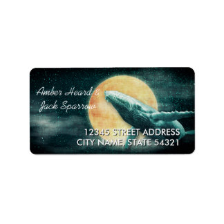 Humpback Whale Flying to The Moon Address Labels