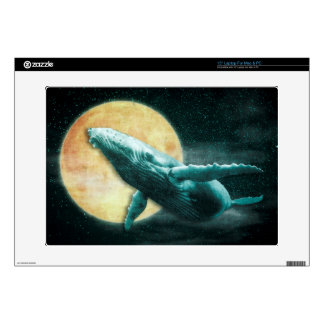 Humpback Whale Flying to The Moon Laptop skin