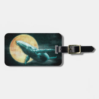 Humpback Whale Flying to The Moon Luggage Tag