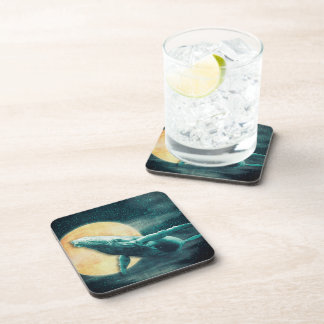Humpback Whale Flying to The Moon Plastic coasters
