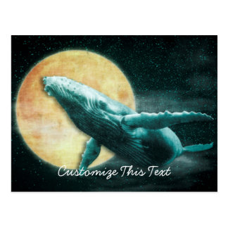 Humpback Whale Flying to The Moon Post Cards