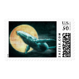 Humpback Whale Flying to The Moon Postage Stamps