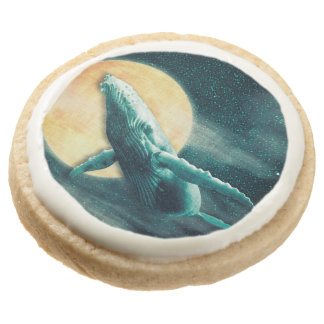 Humpback Whale Flying to The Moon Shortbread Cooki Round Shortbread Cookie