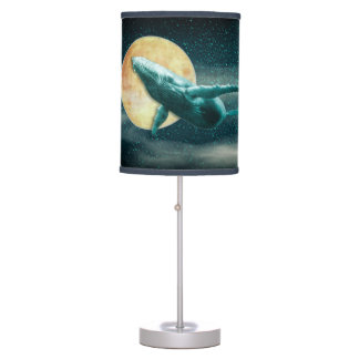 Humpback Whale Flying to The Moon - Table Lamp
