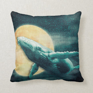 Humpback Whale Flying to The Moon Throw Pillow