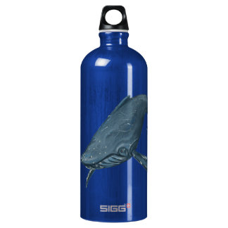 Humpback Whale Illustration Aluminum Water Bottle
