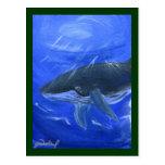 Humpback whale marine art Gunilla Wachtel Postcard
