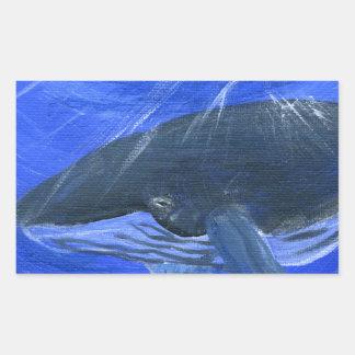 Humpback whale marine art Gunilla Wachtel Rectangular Sticker