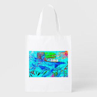 humpback whale reuseable bag market totes