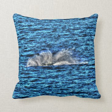 Beach Themed HUMPBACK WHALE SLAPPING WATER QUEENSLAND AUSTRALIA THROW PILLOW