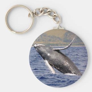 Humpback Whale Splashing Basic Round Button Keychain