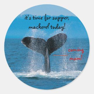 Humpback Whale supper is mackerel. Classic Round Sticker