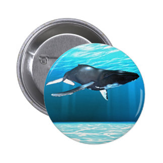 Humpback Whale Swimming Pinback Button