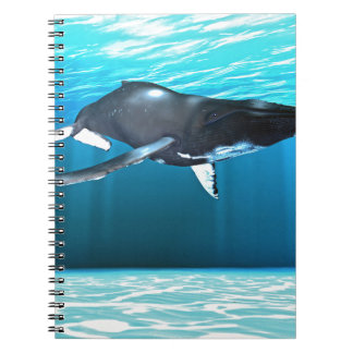 Humpback Whale Swimming Spiral Notebook