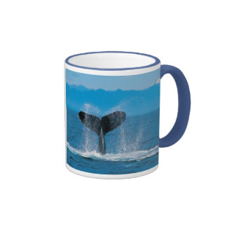 Humpback Whale Tail, Against Whaling Ringer Coffee Mug