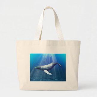 Humpback Whale Watercolor Large Tote Bag
