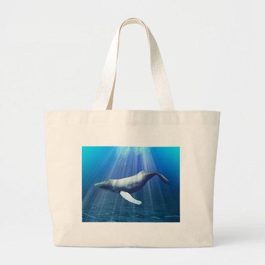 Humpback Whale Watercolor Large Tote Bag
