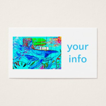 Beach Themed humpback whales business card