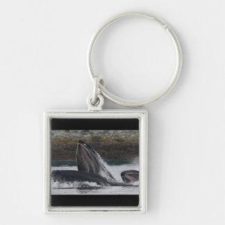 Humpback whales feeding keychain