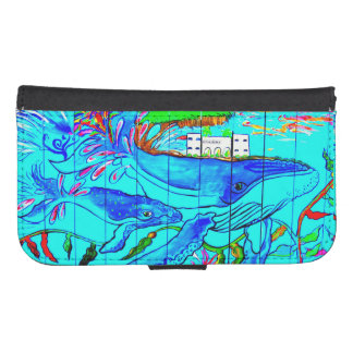 humpback whales folio planner wallet phone case for samsung galaxy s4
