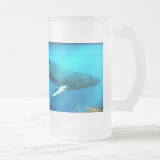 Humpback Whales Frosted Glass Beer Mug