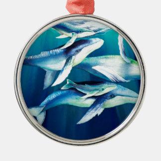 Humpback Whales Metal Ornament