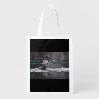 Humpback whales reusable grocery bag