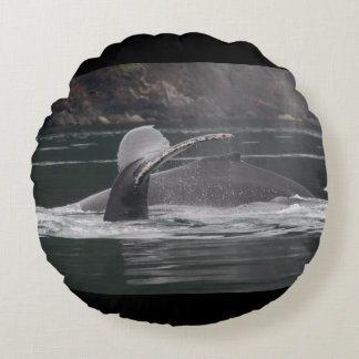 Humpback whales round pillow
