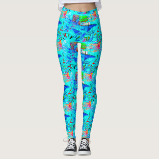 humpback whales swimming blue leggings