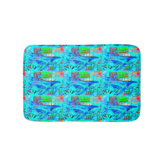 humpback whales swimming  in blue sea bath mat