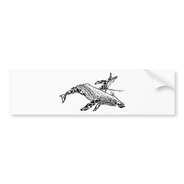 Beach Themed Humpback with baby bumper sticker