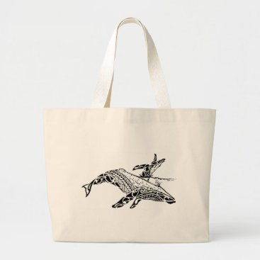 Beach Themed Humpback with baby large tote bag
