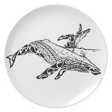 Beach Themed Humpback with baby melamine plate