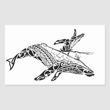 Beach Themed Humpback with baby rectangular sticker