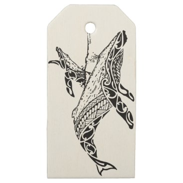 Beach Themed Humpback with baby wooden gift tags
