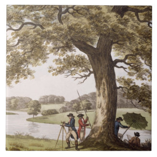 Humphrey Repton surveying with a Theodolite (colou Ceramic Tile