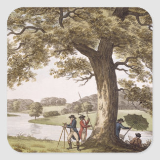 Humphrey Repton surveying with a Theodolite colou Sticker