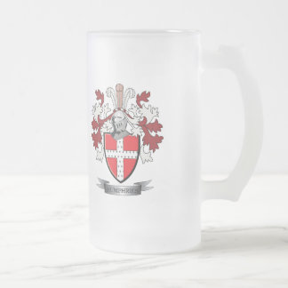 Humphries Family Crest Coat of Arms Frosted Glass Beer Mug