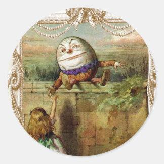 Humpty Dumpt and Alice Classic Round Sticker