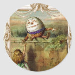 Humpty Dumpt y Alicia Pegatina Redonda