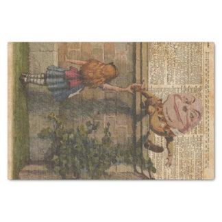 "Humpty Dumpty & Alice Vintage Book Illustration 10"" X 15"" Tissue Paper"