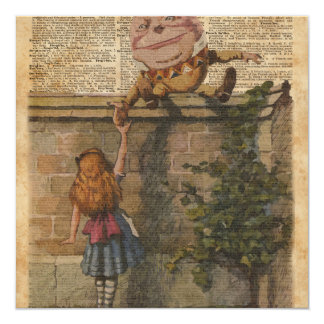 Humpty Dumpty & Alice Vintage Book Illustration Card