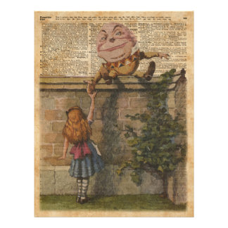 Humpty Dumpty & Alice Vintage Book Illustration Flyer