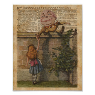 Humpty Dumpty & Alice Vintage Book Illustration Poster