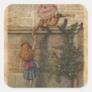 Humpty Dumpty & Alice Vintage Book Illustration Square Sticker