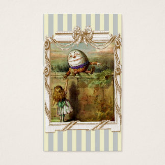 Humpty Dumpty and Alice on blue and white stripes Business Card