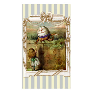 Humpty Dumpty and Alice on blue and white stripes Double-Sided Standard Business Cards (Pack Of 100)