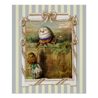 Humpty Dumpty and Alice on blue and white stripes Poster